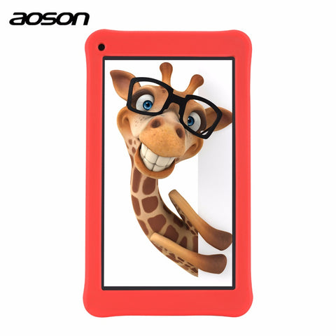 Cute 7 inch Kids Pad Tablet 16GB/1GB Android 6.0 Aoson M753 Kids Learning Tablet PC with Parental Control Software Silicone Case