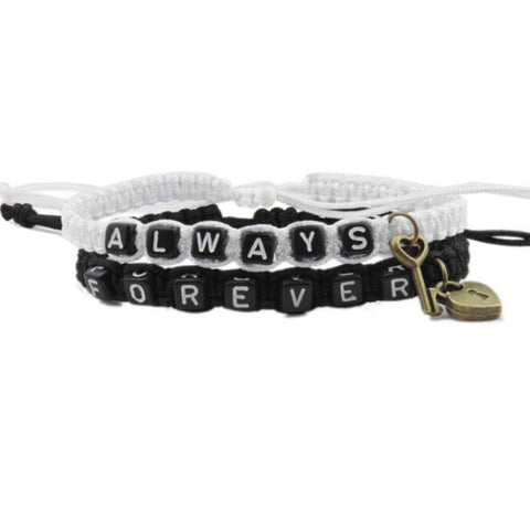 Always Forever Letter Strap Woven Bracelet With Key Love Lock Bracelets For Lovers Couples Boyfriend Girlfriend Gift