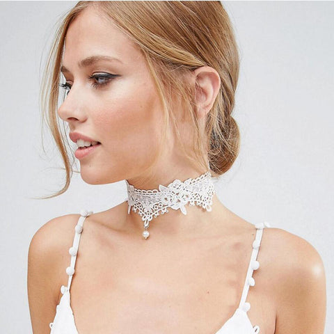 New Fashion Gothic Tattoo Wedding Jewelry White Hollow Out Rose Flower Simulated Pearl Embroidery Lace Choker For Women