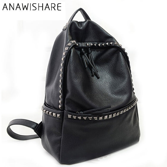 ANAWISHARE Women Backpacks Rivet Black Soft Washed Leather Bags