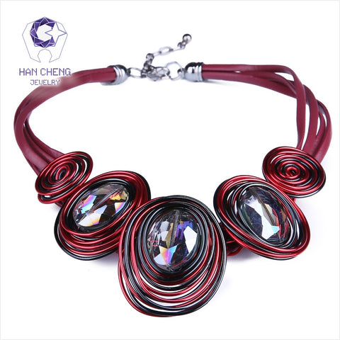 HanCheng New Fashion Leather Rope Handwork Created Crystal Choker Necklace Women Necklaces Statement collar jewelry bijoux