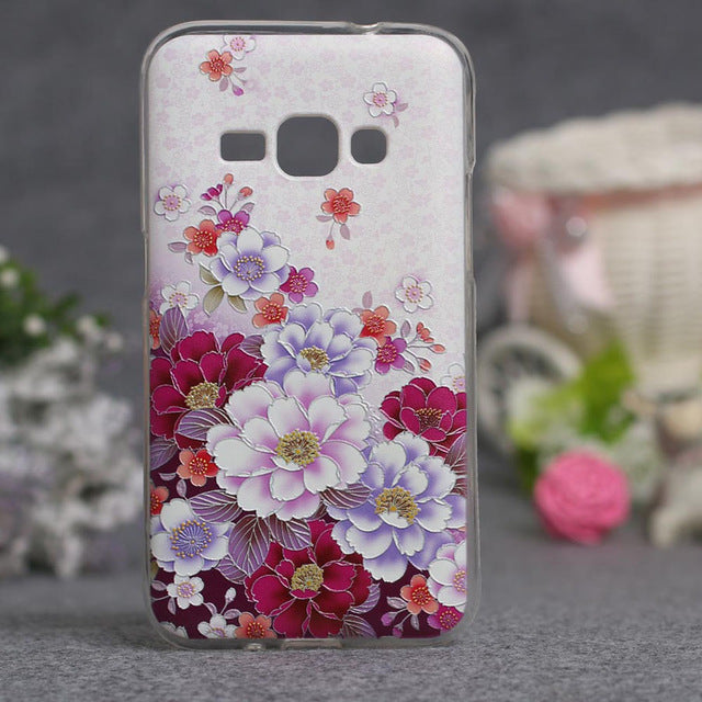 Abstract Flower Painting Soft TPU Capa Case For Samsung Galaxy J1(6)