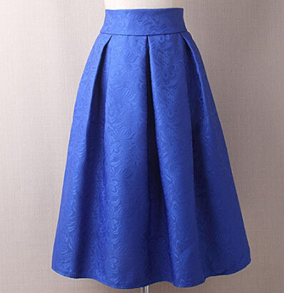 AKITSUMA Summer Midi Skirts Womens High Waist A-Line Skirt Knee-Length