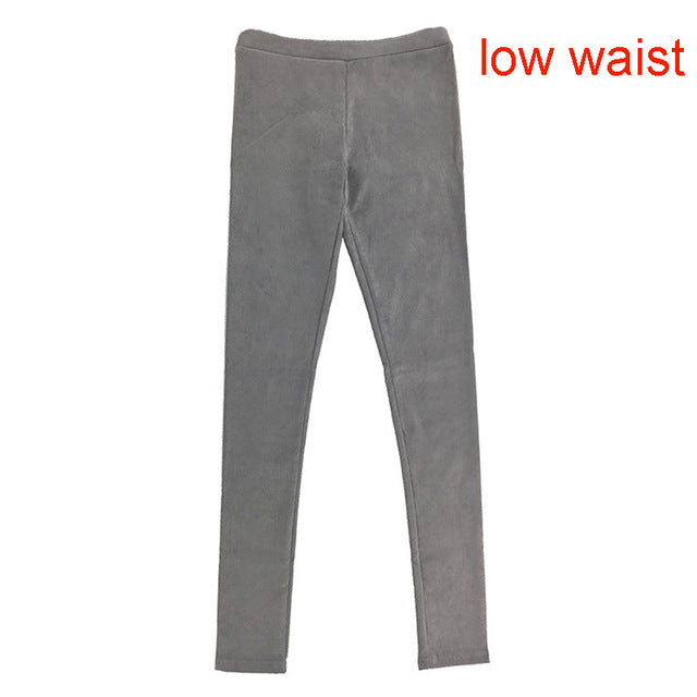 2016 spring suede leather women pants high waist large elastic slim