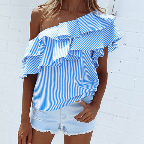 One Shoulder Ruffles Blouse Shirt 2017 Casual Striped Short Sleeve Cool Girls Blouses Blusas Summer Tops for Women Clothig 40713