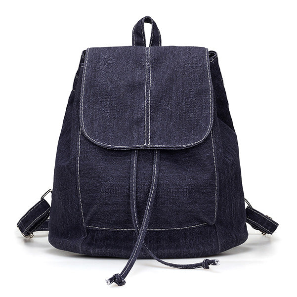 2017 New Denim Canvas Women Backpack Drawstring School Bags For