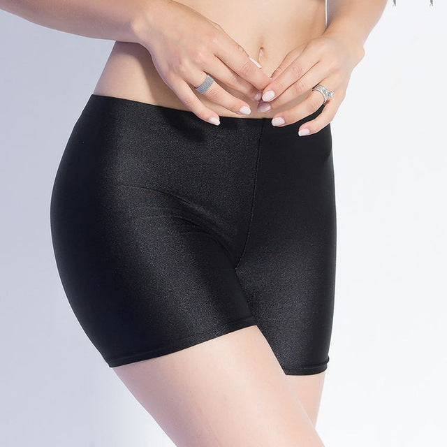 BIVIGAOS New Women Hot Sale Slim Black Glossy Shorts Chinlon Thin