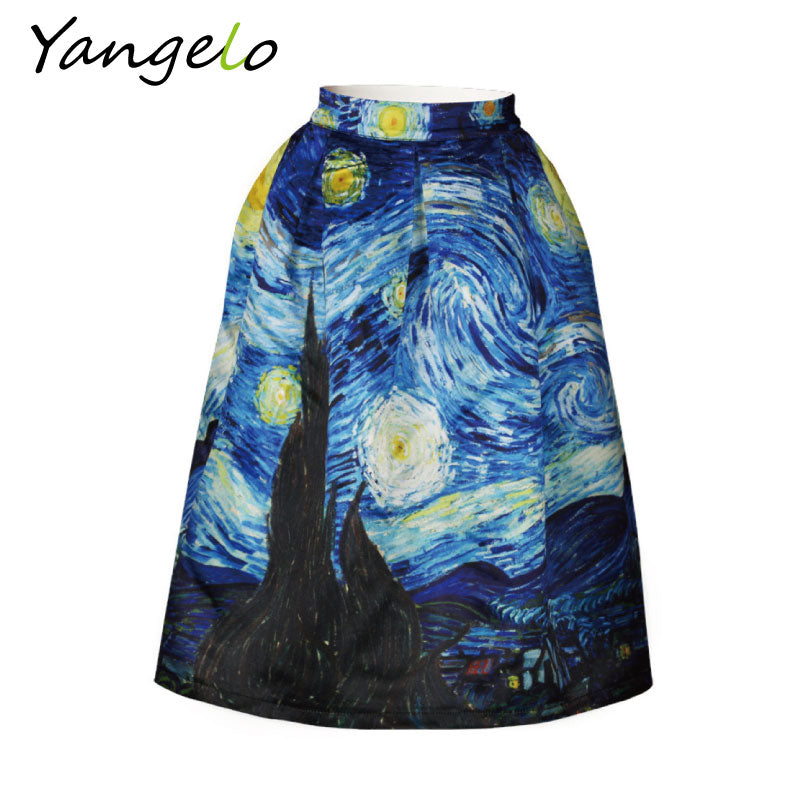 2017 New Arrivals Skirts Vintage Van Gogh Starry Sky Oil Painting 3D