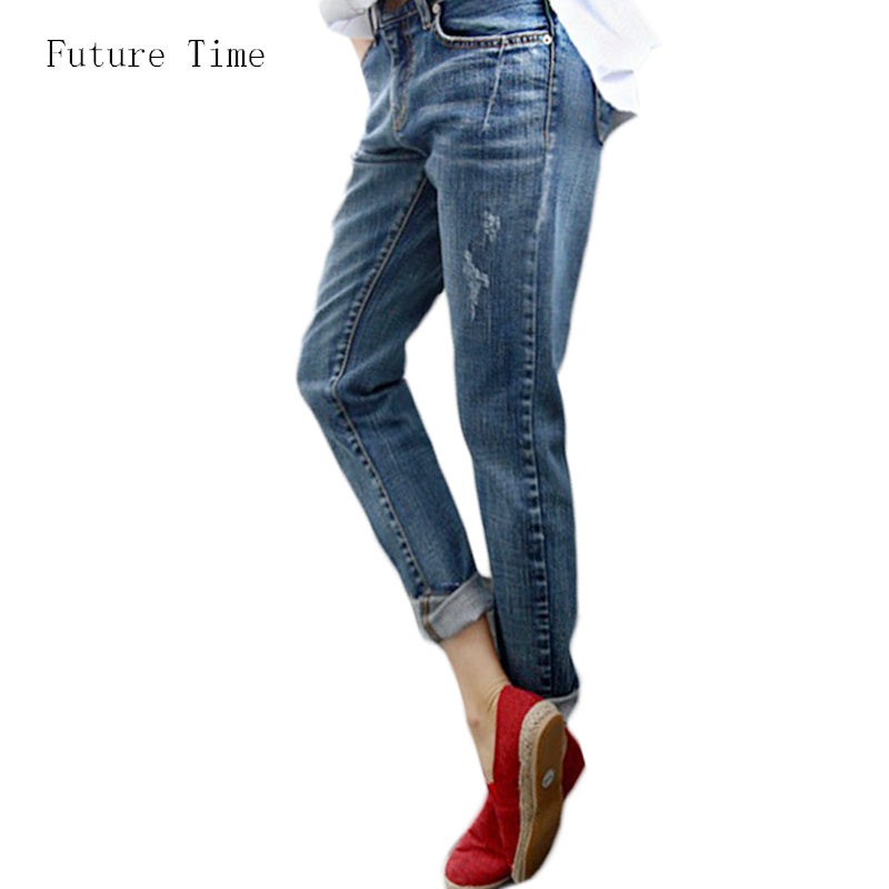 Boyfriend Jeans For Women 2017 Hot Sale Vintage Distressed Regular