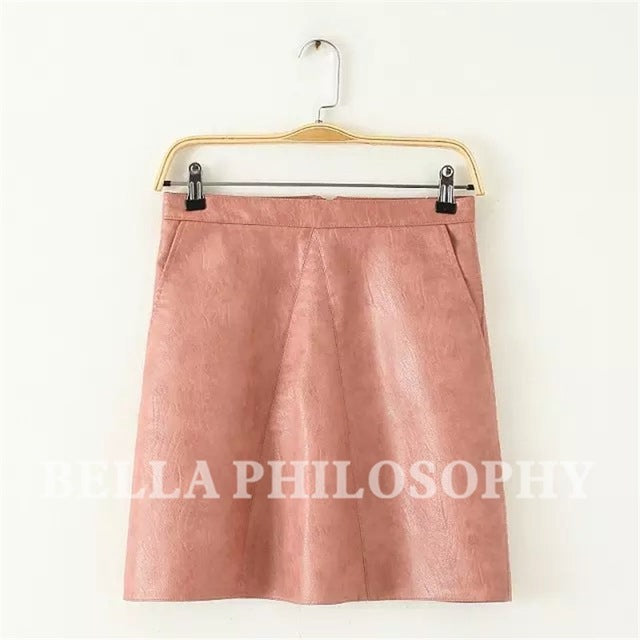 Bella Philosophy 2017 spring high waist Skrit PU faux leather women