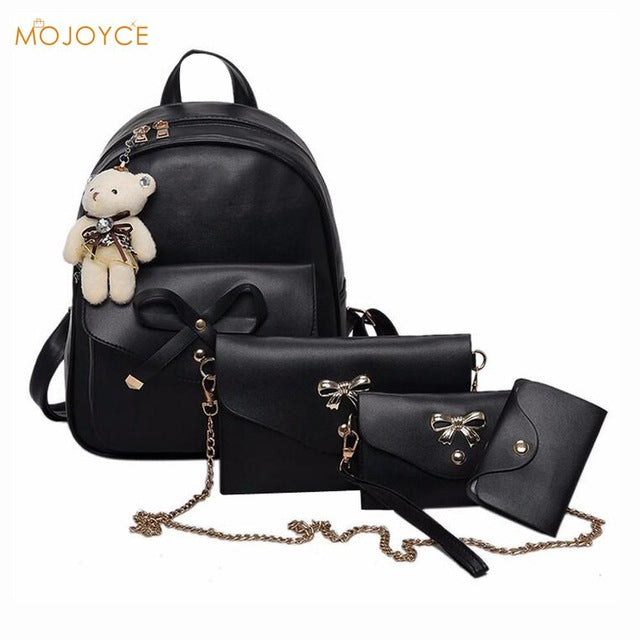 4pcs Preppy Chic Women PU Leather Backpack Shoulder Bag Clutch Bag