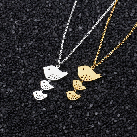 DIANSHANGKAITUOZHE Mom And Baby Tattoo Choker 2017 Stainless Steel Jewelry Gold Chain Family Bird Necklace Thanksgiving Gift