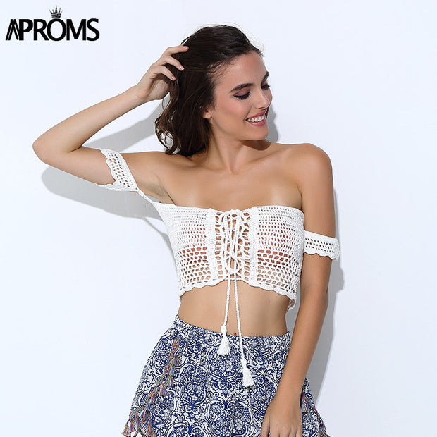 Aproms Sexy Knitted Crochet  White Crop Tops Bikini Beachwear 90s