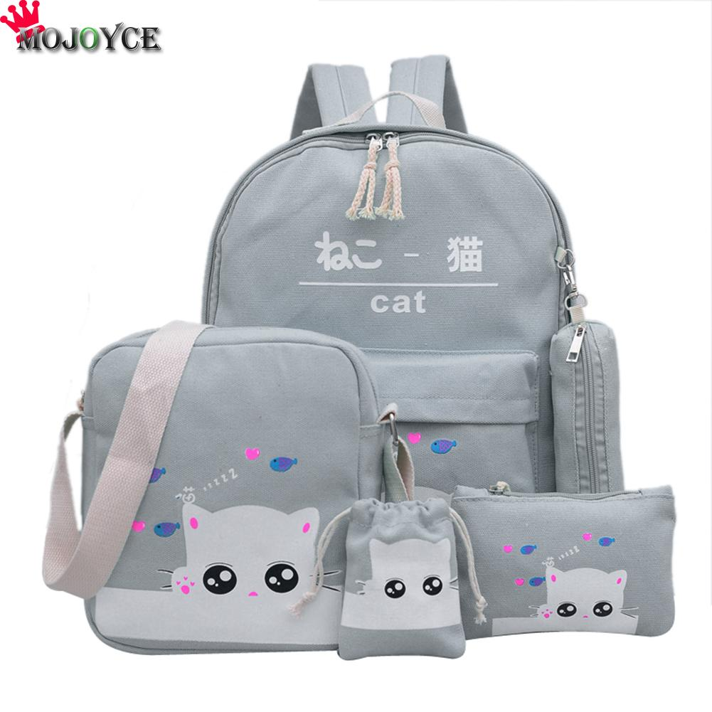 Blue Cat Backpacks For Girl Gray Print School Backpacks For Teenage