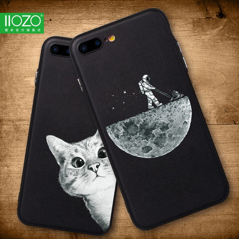 Case For iphone 6 6s 6plus 7plus Space Moon Sun Flower Math English Words Cute Cats Pandas Animal black Phone Cases Cover