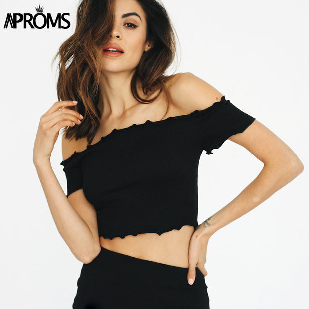 Aproms Off shoulder Black Crop Top 90's Girls Casual Ruffles Knitted