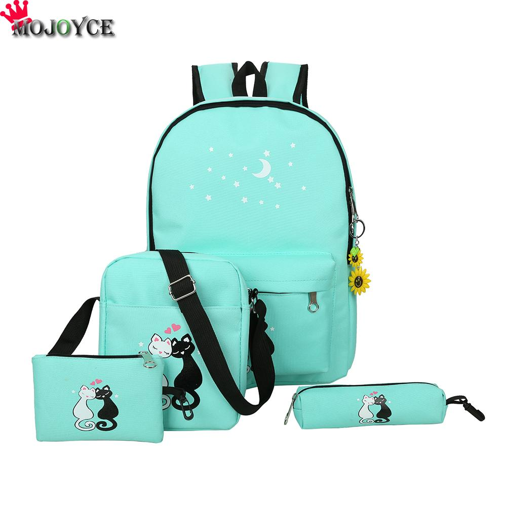 4Pcs/set Canvas Women Bag Schoolbag Printing Cute Cat School Bag