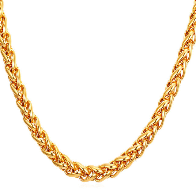 U7 Wheat Chain,Spiga Chain for Men Gold/Black Color Stainless Steel