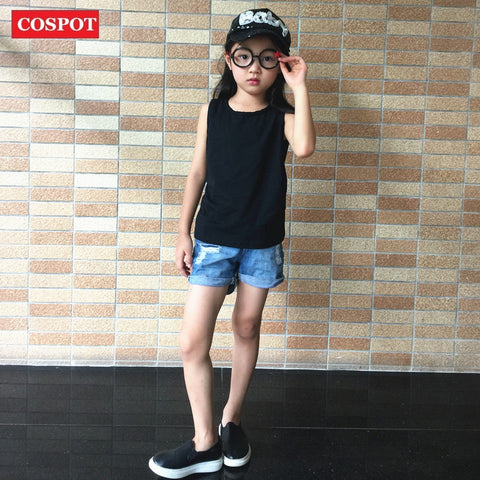 COSPOT Kids Plain Tank T-shirt Baby Boys Girls Plain Black White Gray Summer T Shirt Children Cotton Tee 2017 New Arrival D38