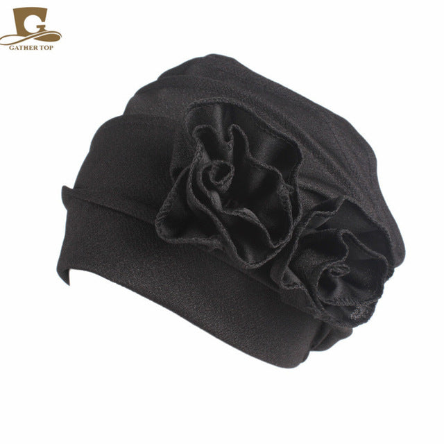2017 new fashion Women beanie hat Elegant stretch double Side Flower