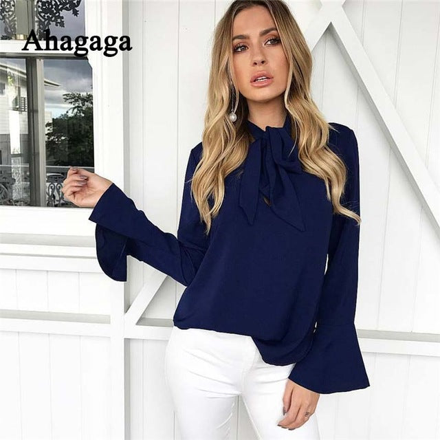 Ahagaga 2017 Autumn Winter Chiffon Blouse Women Top Fashion Solid