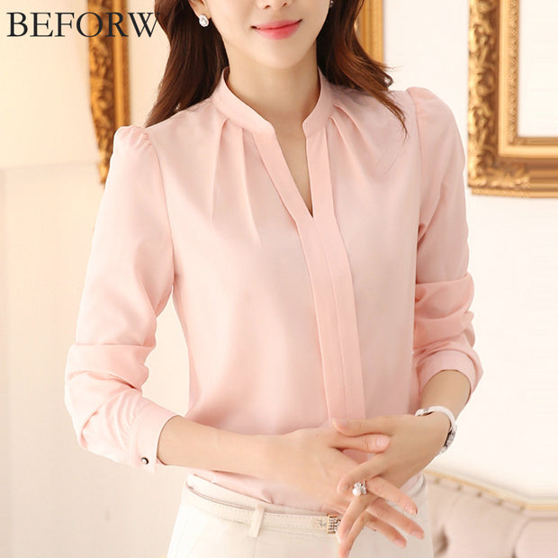 BEFORW Women Chiffon Blouses Summer Fashion White Pink Womens Clothing