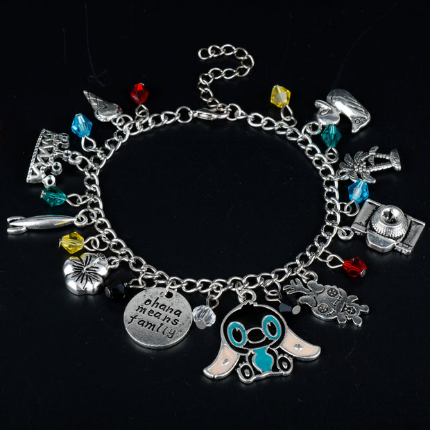 MQCHUN Lilo and Stitch Theme Multi Charms Lobster Clasp Bracelet