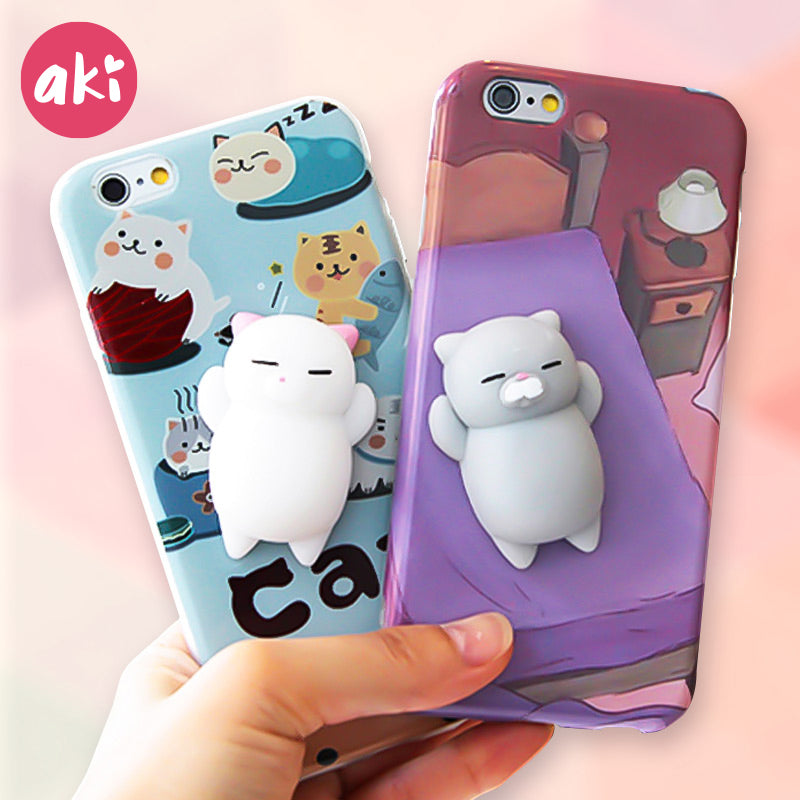 AKI Squishy Mobile Phone Cases for iPhone 8 7 Plus Soft Kitty Panda