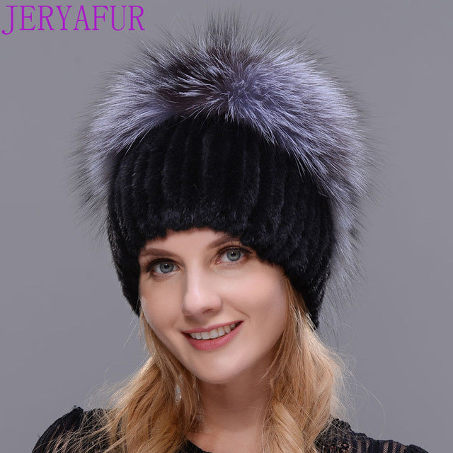2017 new mink hat handmade stitching texture winter woman's skis hat