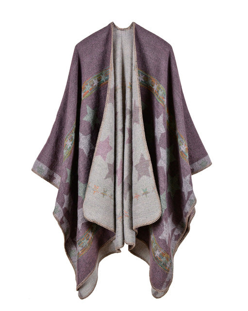 2017 Winter Women Knitted Poncho Cape Stars Print Oversized Cardigan
