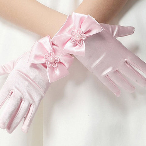 1 pair Female Elastic Silks And Satins Children's Party Accessories Short Gloves Brief Paragraph Princess Gloves