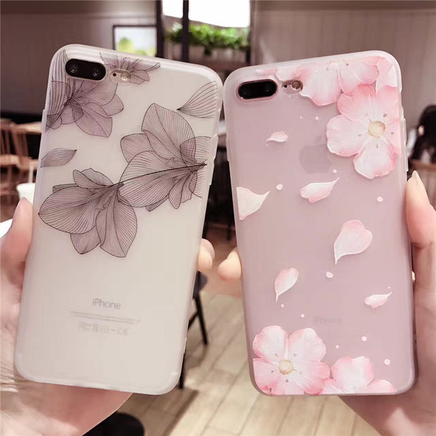 Cherry petals 3D Relief Silicone Case for iphone X 7 7Plus lace leaves