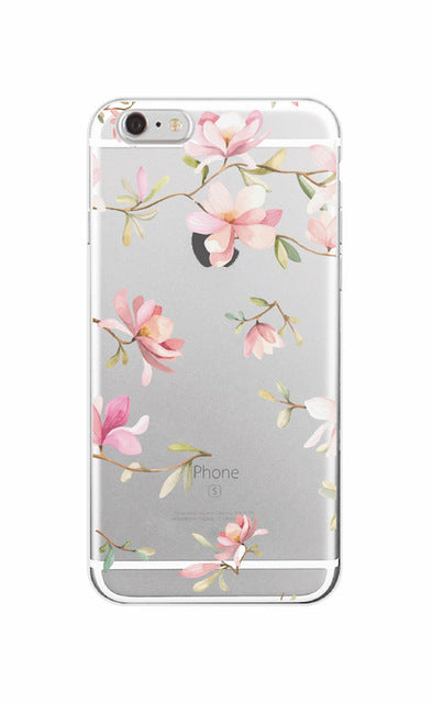 2016 Floral Flowers Rose Daisy Cherry Blossom Fashion Soft TPU Phone