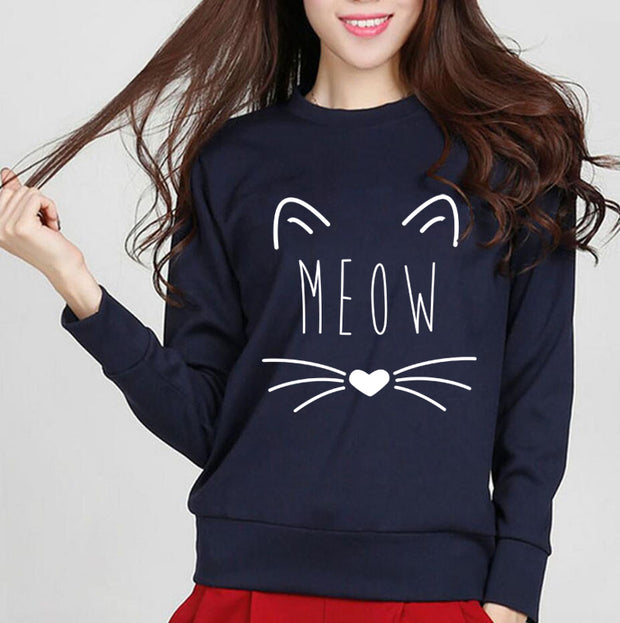 2017 Autumn Winter Hoodie Women Kawaii Cat Meow Kitty Sweatshirt Fleece High Quality Sportswear Long Sleeve O-Neck Pullovers