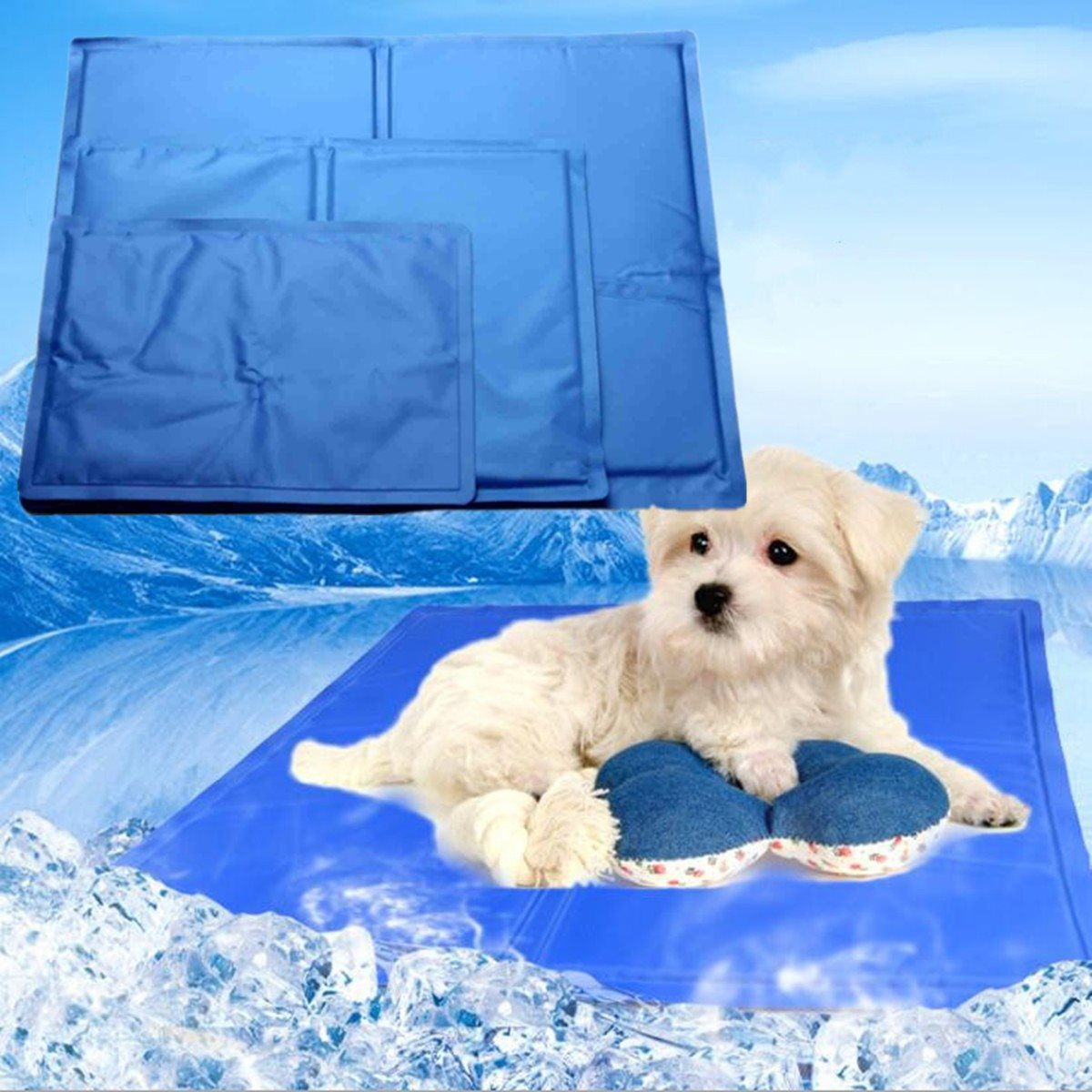 Cooling Mat Mattress Dog Teddy Pet Cat Dogs Cooling Mat Cold Gel Soft Kitten Cushion Summer Keep Cool Bed Kimpets XS-L