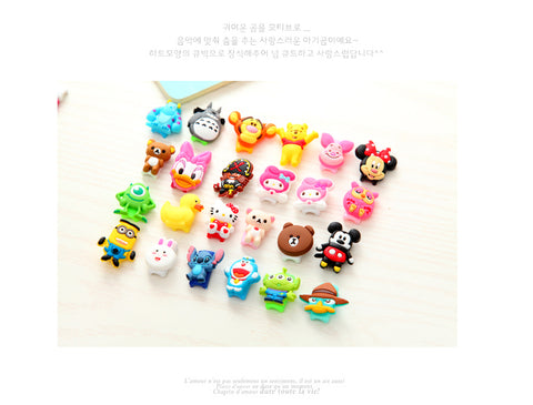 10Pcs Fashion Cute Cartoon USB Cable Protector Cover Case For Apple Iphone 5 5s 6 6s Charger Data Cable Earphone cable winder