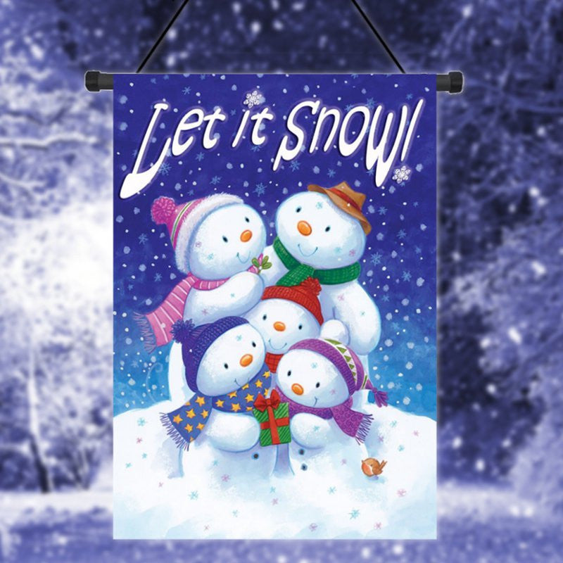 "Let it Snow Winter Garden Flag Snowman Family Banner Decor 12.5"" x"