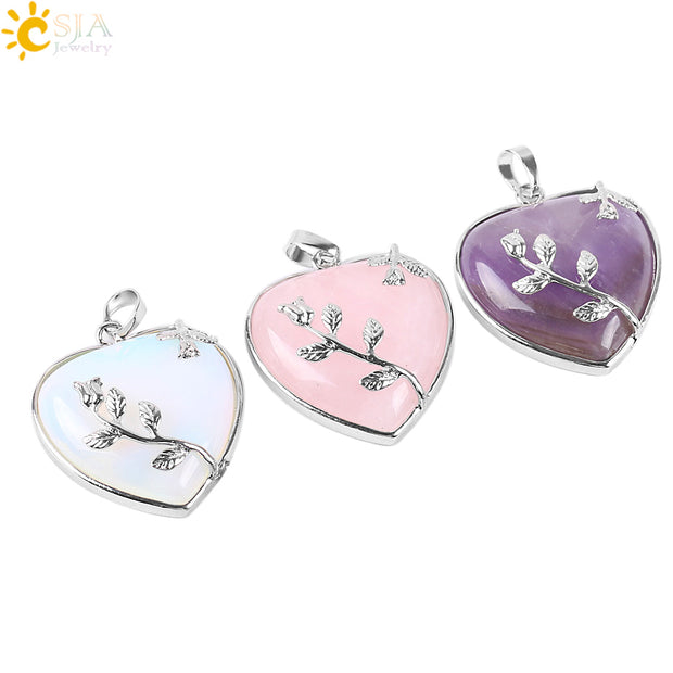 CSJA Natural Stone Jewelry New Arrival Rose Flower Pendant Leaf Long