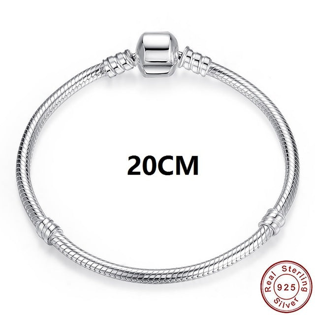 Luxury 100% 925 Sterling Silver Charm Chain Fit Original Bracelet