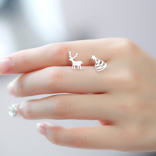 Women Stud Earrings Christmas Tree Elk Deer Pattern Trendy cute