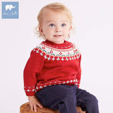DBZ6026 dave bella autumn baby boys Christmas red cotton pullover sweater lovely clothes toddler children knitted Sweater