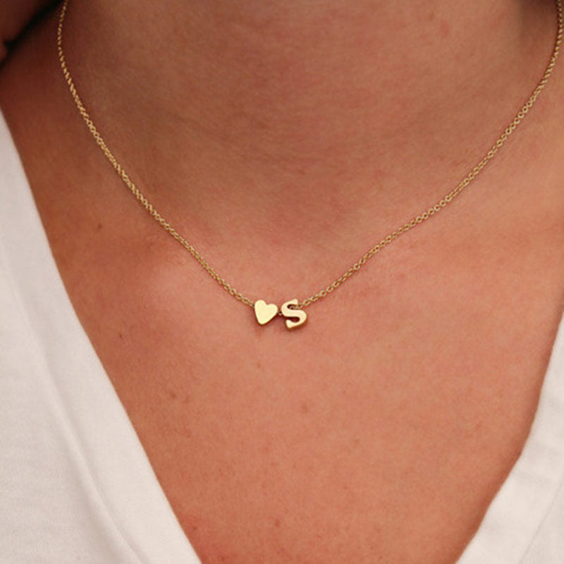 New Tiny Dainty Heart Initial Necklace Personalized Letter Pendant