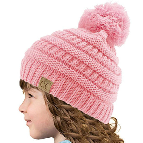 Candy Colors Child Winter Autumn Knitted Hat Beanies Casual Pink Skullies Beanies Girls Warm Caps for Children