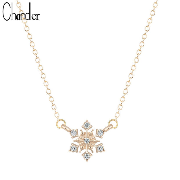 Chandler Silver Plate Snowflake Shinning Pendant Necklace For Women