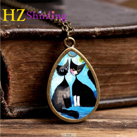 2017 New Colorful Cats Family Necklace Colorful Cat Tear Drop Pendant Animal Jewelry Glass Necklaces Vintage Chain