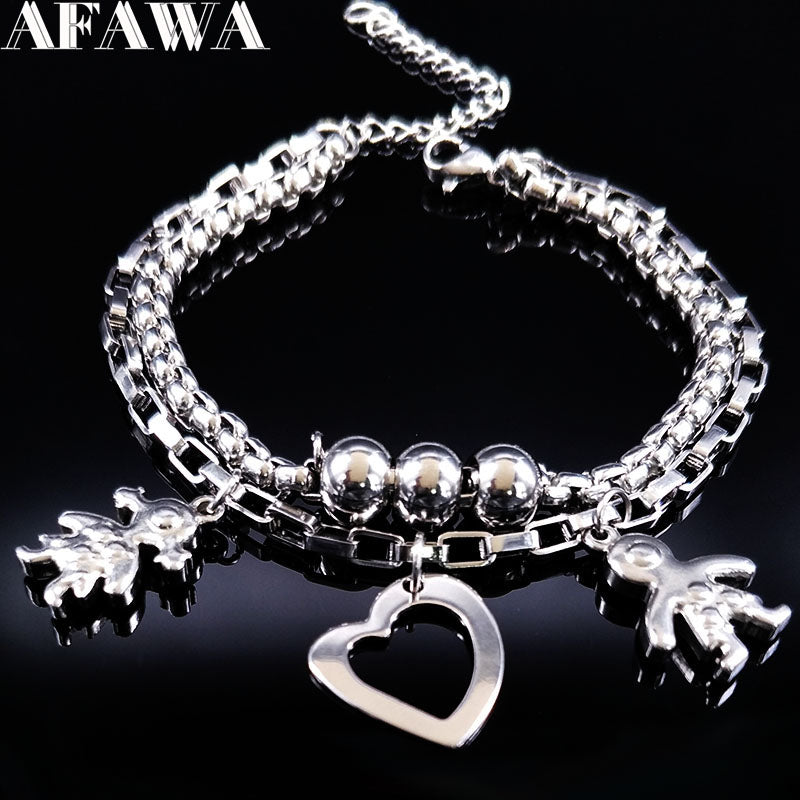 2017 Double Boy and Girl Silver Color Stainless Steel Bracelet for