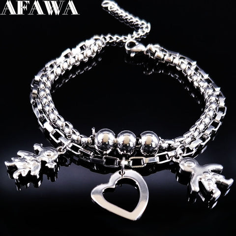 2017 Double Boy and Girl Silver Color Stainless Steel Bracelet for Women Love Bracelets Bangles Jewelry pulseras hombre B61447