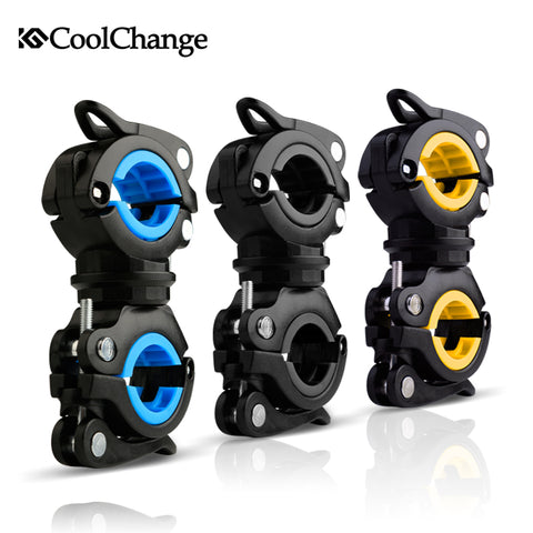 CoolChange Bike Cycling 360 Rotating Light Double Holder LED Front Flashlight Lamp Pump Handlebar Holder Bicycle Accessories
