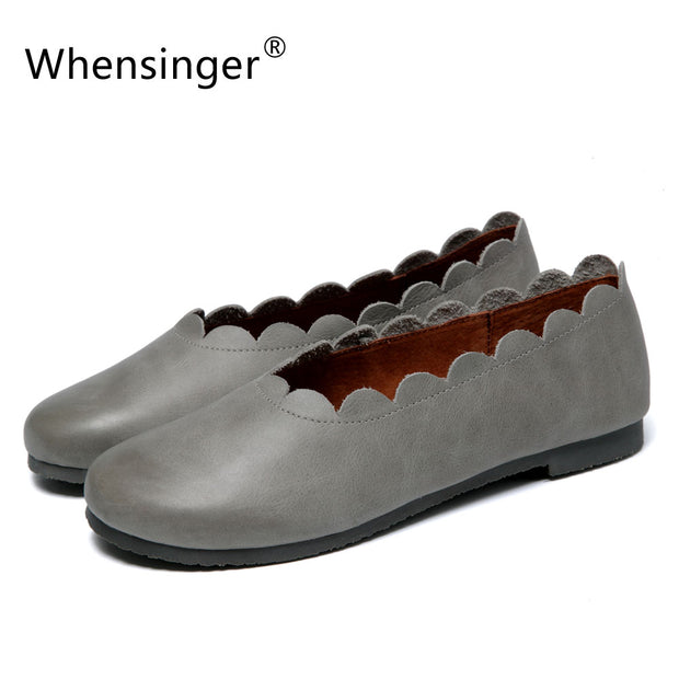 Whensinger - 2017 Best Price Women Shoes Genuine Leather Flats