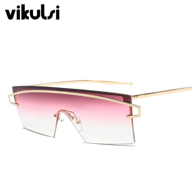 Cool Luxury Brand Gradient Oversize Sunglasses Women Sexy Rimless